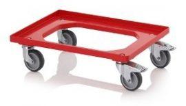 AB RO 64 GU Szállító roller gumi kerekekkel 62x42 cm, 2 forgó, 2 forgó fékes kerékkel