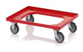 Szállító roller gumikerekekkel, 62x42 cm, 2 irányítható kerék, 2 fix kerék
