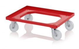 Szállító roller polyamid kerekekkel, 62x42 cm, 2 irányítható kerék, 2 fix kerék