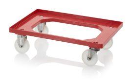 Szállító roller polyamid kerekekkel, 62x42 cm, 2 rozsdamentes acél kerekekkel, 2 nemesacél-fix kerekek