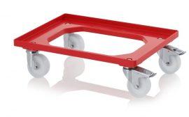 Szállító roller polyamid kerekekkel, 62x42 cm, 2 nemesacél irányítható kerék, 2 nemesacél irányítható kerék rögzítővel