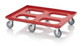 Szállító roller gumi/polyamid kerekekkel, 82x62 cm, 4 irányítható kerék, 2 fix kerék