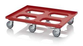 Szállító roller gumi/polyamid kerekekkel, 82x62 cm, 4 irányítható kerék, 2 irányítható kerék fékkel