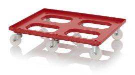 Szállító roller poliamid kerekekkel, 82x62 cm, 4 nemesacél irányítható kerék, 2 nemesacél fix kerék