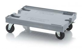 Szállító roller gumi/polyamid kerekekkel, 82x62 cm, 2 irányítható kerekek, 2 irányítható kerék fékkel