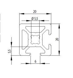 Bosch kompatibilis profil 20x20 2N90 nyitott Nut6