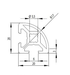 Bosch kompatibilis íves aluprofil 20x20 R Nut6