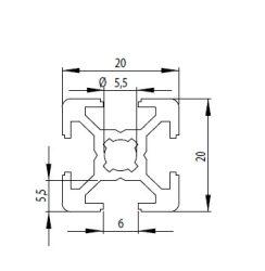 Bosch kompatibilis alurofil 20x20 Nut6