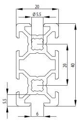 Bosch kompatibilis Profil 20x40 Nut6