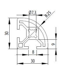 Bosch kompatibilis Profil 30x30 R Nut8