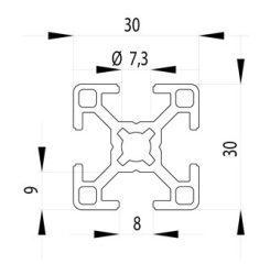Bosch kompatibilis aluprofil 30x30 Nut8