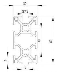 Bosch kompatibilis alimínium profil 30x60 Nut8