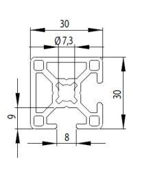 Bosch kompatibilis Profil 30x30 2N90 nyitott Nut8