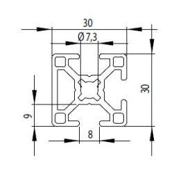 Bosch kompatibilis Profil 30x30 3N nyitott Nut8