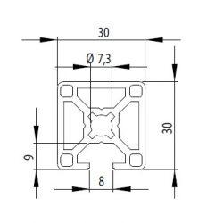 Bosch kompatibilis alurofil 30x30 1N nyitott Nut8