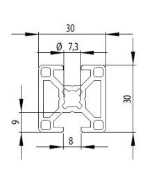 Bosch kompatibilis alurofil 30x30 2N180 nyitott Nut8