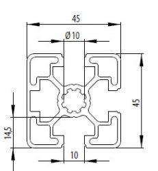 Bosch kompatibilis alurofil 45x45 3N nyitott Nut10