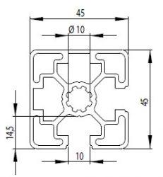 Bosch kompatibilis aluprofil 45x45 2N90 nyitott Nut10