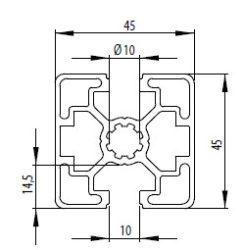 Bosch kompatibilis alurofil 45x45 2N180 nyitott Nut10