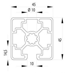 Bosch kompatibilis alumínium profil 45x45 1N nyitott Nut10