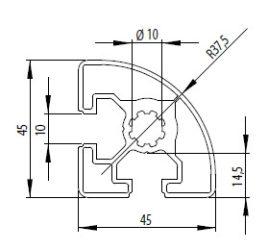 Bosch kompatibilis alurofil 45x45 R Nut10