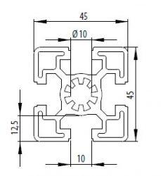 Bosch kompatibilis alurofil 45x45 S Nut10