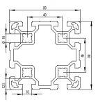 Bosch kompatibilis alu profil 80x80 L Nut10