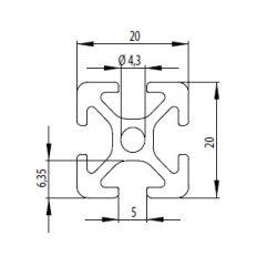 Item kompatibilis alumínium profil, 20x20 Nut5