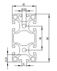 Item kompatibilis aluprofil, 40x80L Nut8